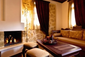 Aspraggeloi suites fireplace Ioannina mountain resort